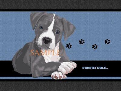 Puppies Rule Pitbull Pit Bull Blue Paw Prints House Door Mat Doormat Floor Rug