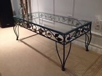 Pier 1 Glass & Wrought Iron Coffee & Side Table Set