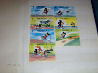 1984 LOS ANGELES-SET OF 7 ANGUILLA POSTAGE STAMPS-DISNEY-MICKEY