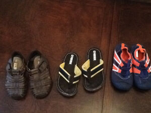 Three pairs boys footwear.  Size 9-11