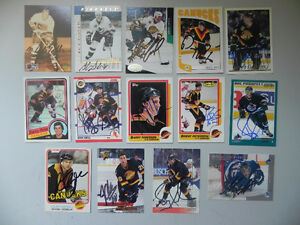Lot of 14 Vancouver Canucks Hockey Autographed Cards