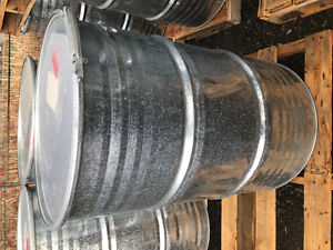 55 gallon galvanized barrels w/lid contained food grade products
