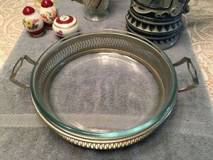 Glass Dish with Metal Frame
