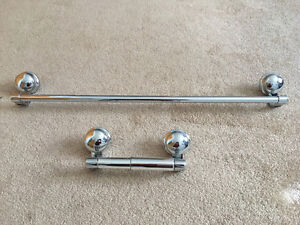 22 inches chrome towel bar and toilet paper holder