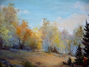 """Panoramic Countryside by E. Benninger """"Across the River"""" 1970's Stratford Kitchener Area image 8"""