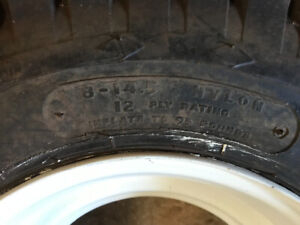 Trailer tire and rim 8X14.5, 12 Ply