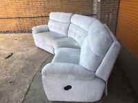 SCS destiny curved reclining sofa pale grey ex display model