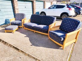 Ercol Bergere 4 Piece Retro Sofa, Chairs and Footstool