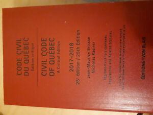 Code civil du Quebec, 25ième édition .Jean -Maurice Brisson
