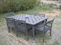 ALUMINUM TABLE AND 6 CHAIRS