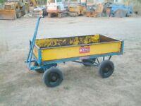 1 ton Heavy Duty Flat Bed Site Trolley Platform Hand Truck Cart, drop down side
