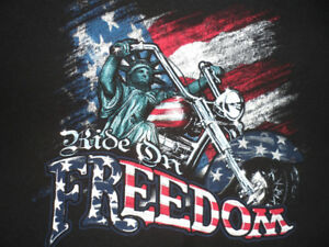 """""""RIDE ON FREEDOM"""" T-SHIRT, LIBERTY ON MOTORCYCLE, MEN'S: 2XL"""