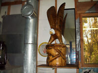 Carved Eagal & Mounted Fox
