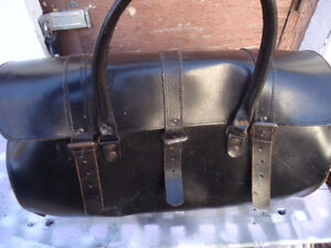 Vintage Leather Motorcycle Tool Roll Bag Case Carrier Saddle (H)