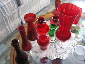 Great Collection of Vintage Ruby Red Anchor Hocking Glass