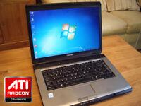 Can Deliver - Gaming Toshiba Laptop - ATI Radeon Graphics - 3Gb - 250Gb - WiFi - DVD-RW - Webcam