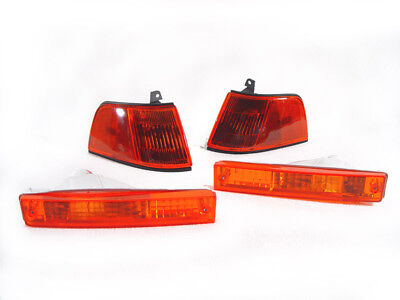 Jdm Corner Lights - DEPO JDM Amber Corner + Bumper Signal Lights For 1990-1991 Honda Civic 4D Sedan