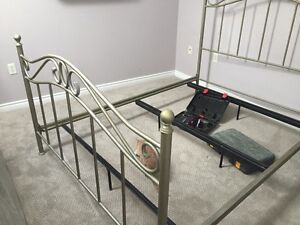 Metal Bed Frame and Night Table