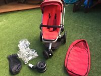 Quit buzz pushchair stroller in red with extras
