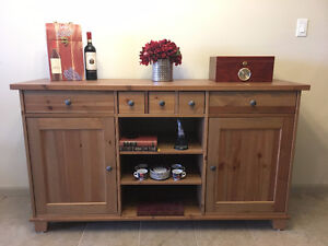 Heavy wood sideboard in new condition