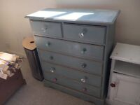 Pine shabby chic chest of drawers