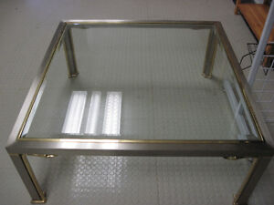 Glass & Brushed Aluminum Coffee Table