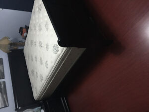 Black sleigh bed frame with pillow top mattress and box spring