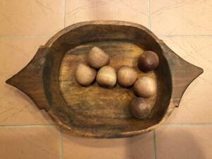 Antique Wooden Centerpiece Bowl