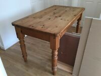 SOLID PINE FARMHOUSE DINING TABLE AND 2 CHAIRS