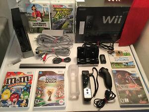 Wii noire complete-manette-nunshock-jeux-chargeur -125$