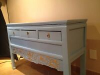 Antique buffet table blue gold