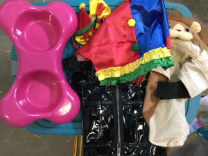 Dog Bowl and 3 Halloween costumes for little dog