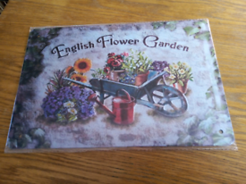Brand new and sealed English Flower Garden metal sign Mother's Day