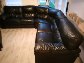 Harvey's real leather corner sofa