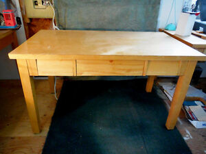 Birch Table - vintage c/w 3 drawers
