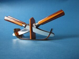 1940's Vintage Bakelite two tone fruit knives and stand