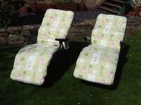 Garden recliner chairs x 2