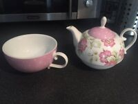 Tea pot set all in one pink flowers