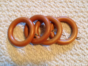 Wood curtain rods and drapery rings