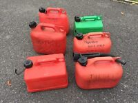 Six 5l fuel cans