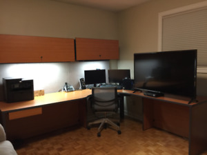 Large Home Office Desk with Shelves and Cabinets