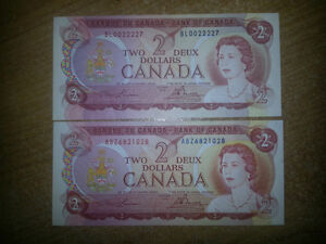 RARE 1974 2$ BILL MINT UNCIRCULATED ONLY 19$ EACH............... London Ontario image 1