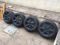 "Borbet C 15"" 4x108 7J satin Audi Nimbus grey with new Nankangs 165/50/15"