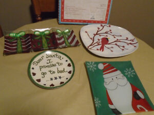 Christmas plates and serving dish