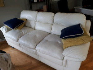 White Leather Sofa - Gently used