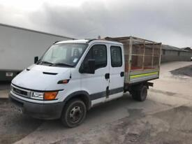 IVECO DAILY 35C12D DOUBLE CAB CAGED TIPPER, White, Manual, Diesel, 2004