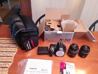 Still in the box! Pentax K-50 with 2 lenses