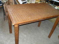 Nice Wicker Table, Dark Brown, Tight Woven