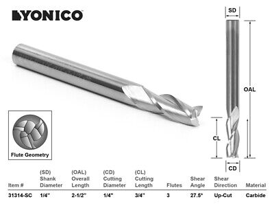 14 Dia. Upcut Spiral End Mill Cnc Router Bit - 14 Shank - Yonico 31314-sc