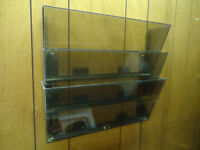 3-Compartment Acrylic Wall-mounted Document Holder or Display